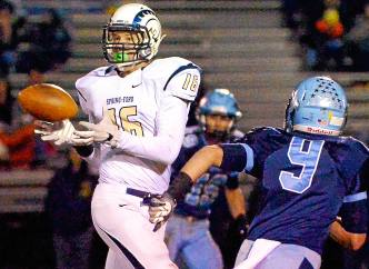 Bob Raines--Digital First Media Spring-Ford receiver Quinn McKenna gets a pass up the middle against North Penn Nov. 11, 2016.