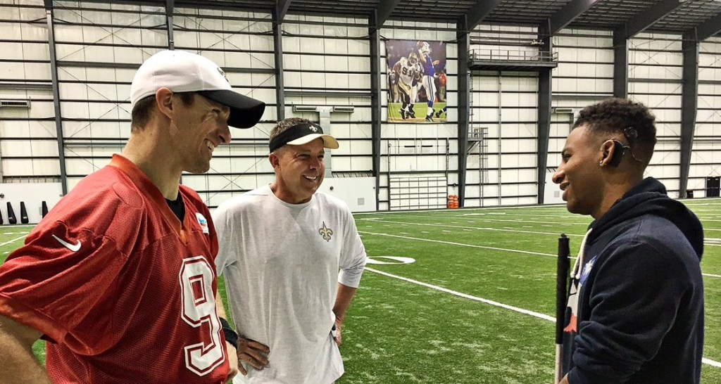Pottstown's Marvin Pearson meets New Orleans Saints quarterback Drew Brees and head coach Sean Payton Saturday in New Orleans. (Photo courtesy New Orleans Saints)