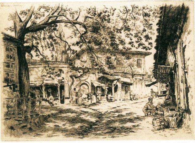 Η βρύση στο Τσινάρι. Χαρακτικό του Louis Goderfroy 1923. (Από Δήμη Τζιβοπούλου)