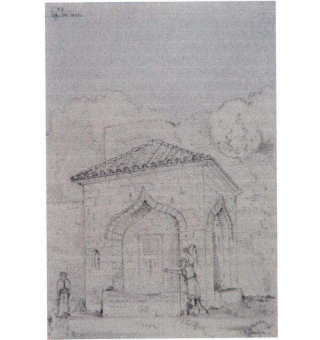 Άγνωστη κρήνη. Σχέδιο του R. Roskelle Bayne 1864. (Α. Αθάνατος).