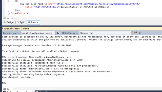 Nuget Microsoft SDK for Hadoop install mapreduce