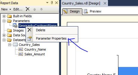 parameter properties report data ssrs ssas