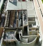 Visions d'ensemble de la partie Est permettant de voir le coeur de la rampe, les escaliers d'accès et l''emplacement de l'ascenseur