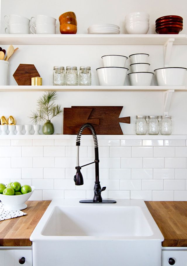 Interior envy open kitchen shelves pardon my french for Kitchen with open shelving