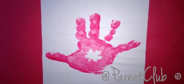 Canada Flag hand print craft