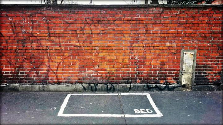 Homelessness street art in Paris