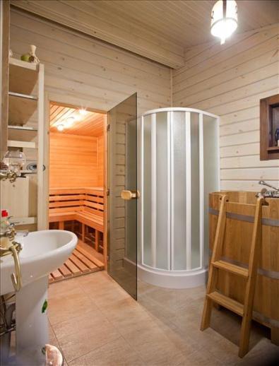 Помывочная в бане из клееного бруса