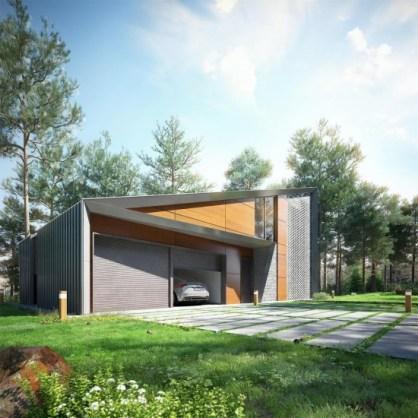 Дом нестандартной формы из дерева с гаражом