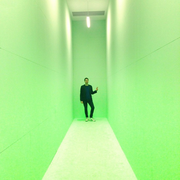 «alien matter», an exhibition as part of the 30th Transmediale-Festival in Berlin – here I am inside the artwork «Video Palace #44 – The Hidden Universe, 2017» by Joep van Liefland | Photo: Unknown helping hand @ HKW – Thank you! ❤