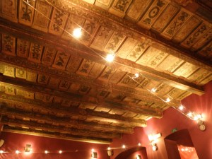 Historical ceiling in Costa Coffee old town Prague