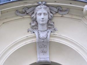 architecture detail figure over doorway in Prague
