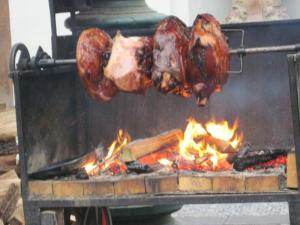 Wood cooked barbecue in squares of Prague