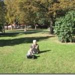 relaxing on the grass near beer garden, Prague