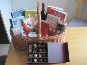 Christmas basket of books and other goodies