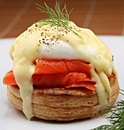 Smoked Salmon Eggs Benedict with Saffron Dill Hollandaise