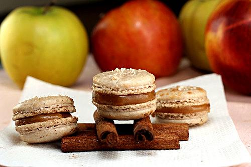 Fleur de Sel Spiced Caramel Apple Macarons
