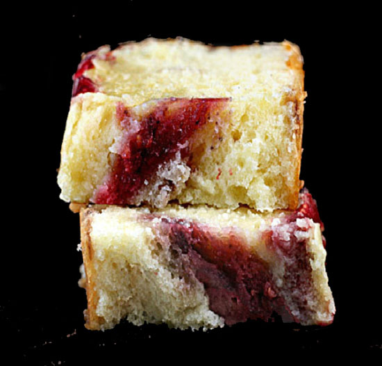 Double Berry Swirl Greek Yogurt Cake - Incredibly moist, with thick ribbons of blackberry and raspberry puree