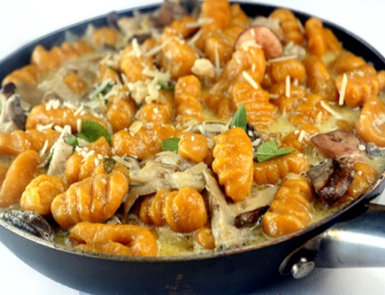 Pumpkin (or Sweet Potato) Gnocchi with Creamy Mushrooms - parsley sage ...