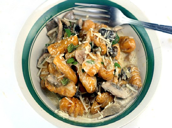 Pumpkin Gnocchi with Creamy Mushrooms