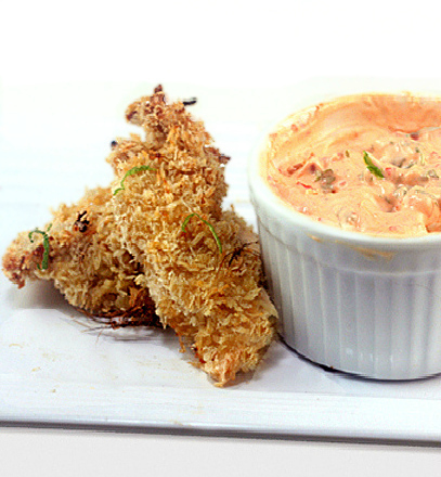 Crunchy, Baked Coconut Lime Chicken Strips with Spicy Yogurt Dipping Sauce