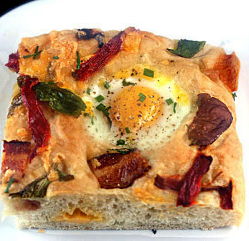 Bacon, Cheddar and 'Eggs in Wells' Foccaccia
