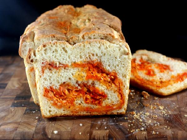 Crusty Sriracha Cheddar - Pepper Jack Swirl Bread