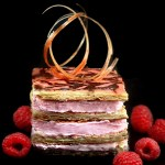Pink October – Raspberry Mousse Almond Praline Mille Feuille aka Napoleons