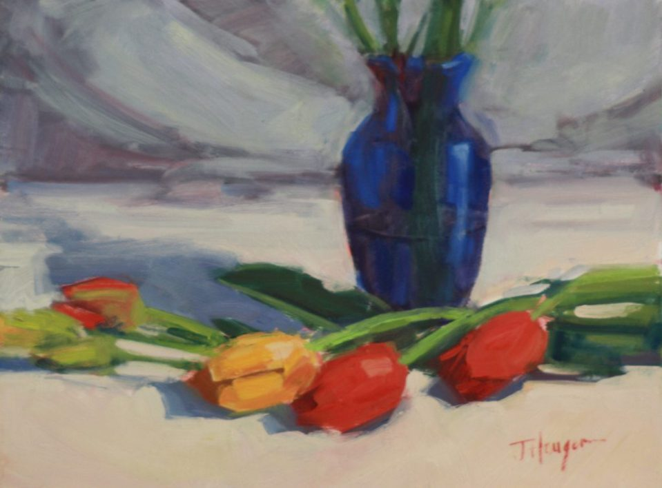 Original Oil- Tulips in Primary