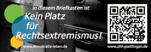 Aufkleber: In diesem Briefkasten ist kein Platz für Rechtsextremismus!