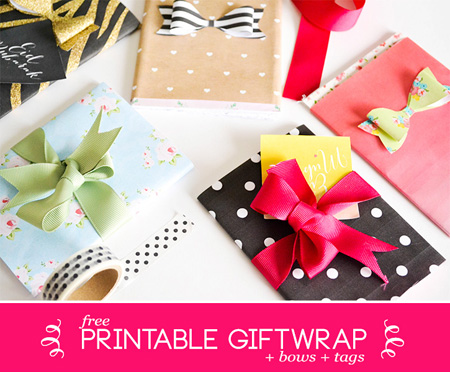 free printable giftwrap bows and tags