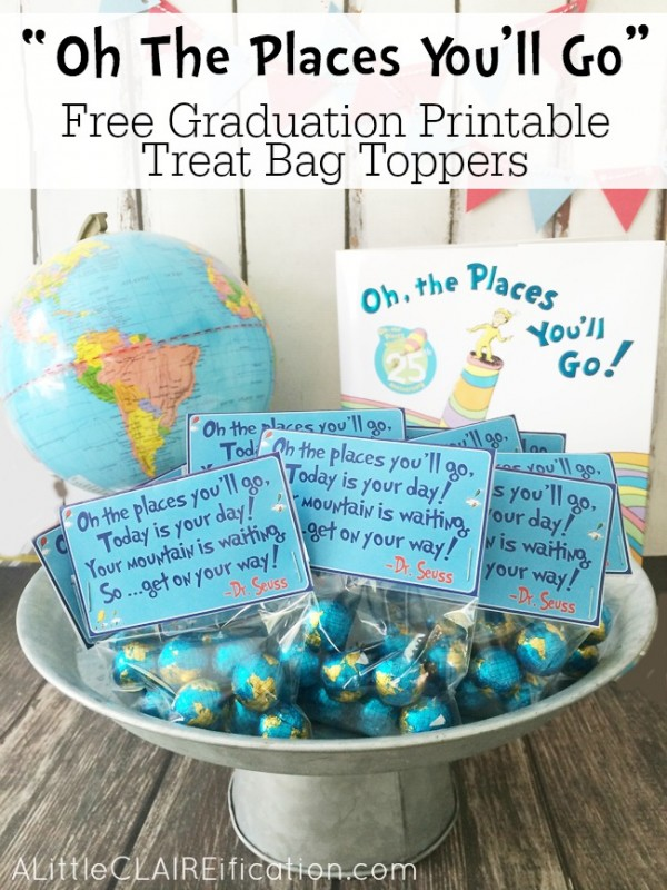 These Graduation Treat Toppers Are A Must For Dr Seuss Fans Party Ideas