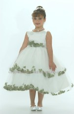 White and Green Flower Girl Dress