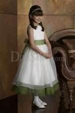 White and Sage Green Flower Girl Dress