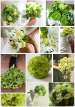 A variety of green bouquets