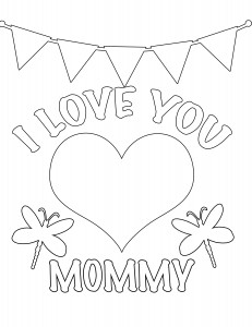 I Love you mommy Valentines day coloring page for kids