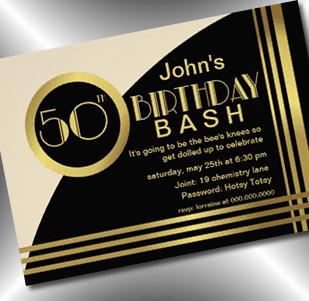 art deco 50th birthday bash roaring 20s invitation - party simplicity