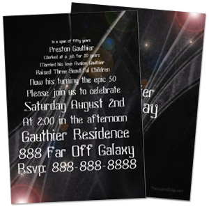 outer space in a galaxy far, far away geek personalized birthday party invitation