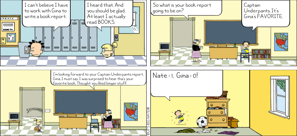 comic strip for book report Presented in comic-strip format and published as a book  (icv2 report, july, 2011) scholastic book fair gn sales  graphic novels and comic books:.