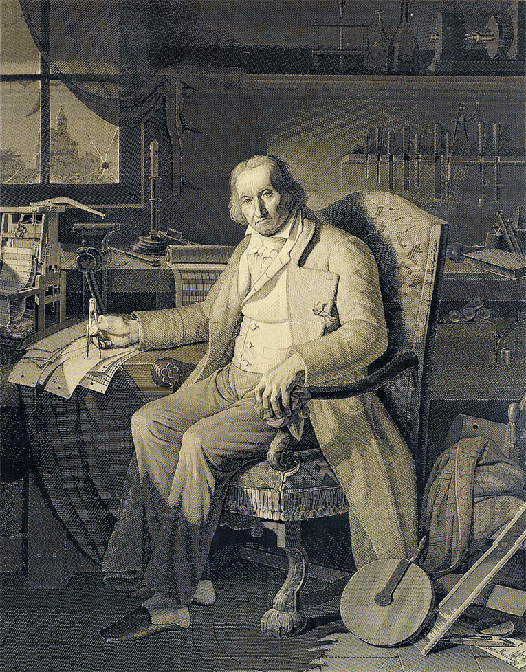 This portrait of Jacquard was woven in silk on a Jacquard loom and required 24,000 punched cards to create (1839)