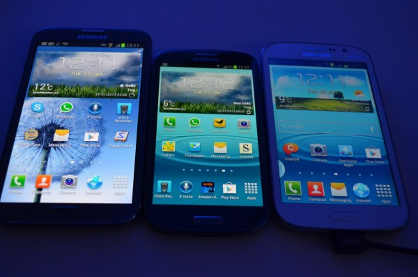 The Galaxy GRAND - size compared to the size of Note II and the galaxy SIII