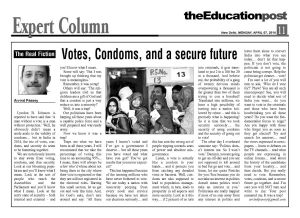 2014_04_07_The Education Post_Votes Condoms and a secure future