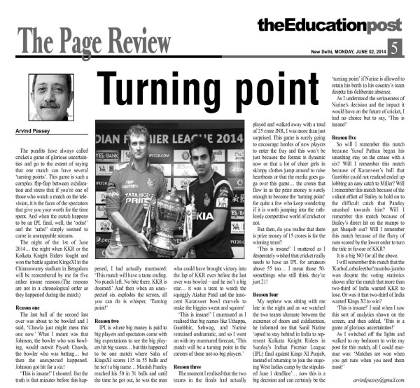 2014_06_02_The Education Post_Review_Turning Point