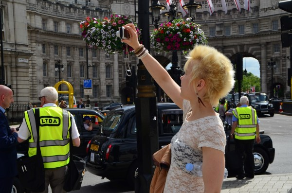London Cab strike. 11 June 2014. Tourists were excited...