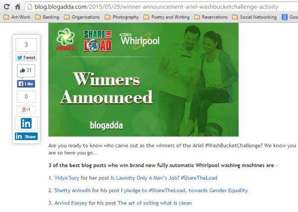 Winner in #WashBucketChallenge blogging contest