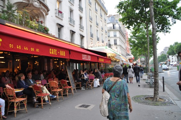 Even furniture arranged in a way that allows you to interact with a city has a dramatic edge to it. Picture clicked by me as we approached Le Select, a famous cafe in Paris