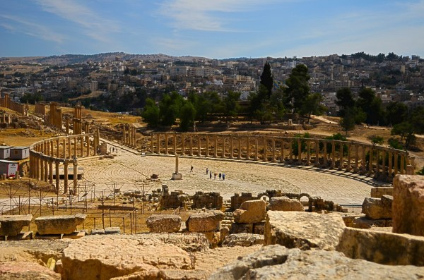 An entire Roman city excavated in Jerash or Jarash, near Amman in Jordan... one can only stand near the ancient amphitheatre and wonder!