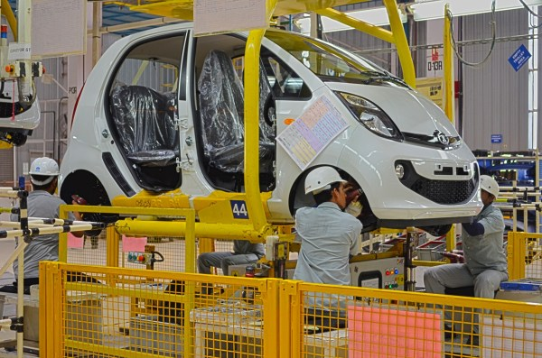 One of the stages in the final assembly of the Tata Nano