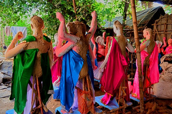 Durga Puja 2015. I'm sure the idols don't like the way their posteriors are treated...