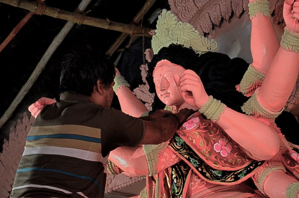 Durga Puja 2015. An expressionless Goddess about to be given life by an artist