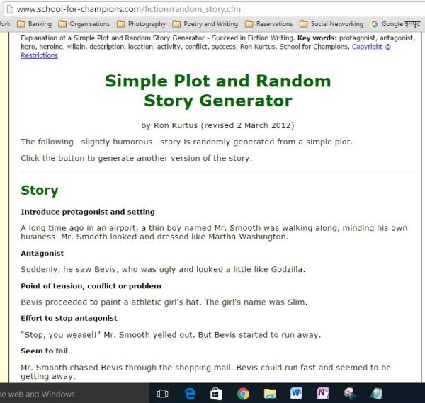 Screen-shot of a story generator page on the net... there are essay generators as well... they all have paid access, of course